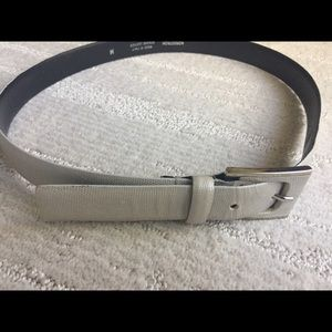 Gray leather belt with silver & leather buckle